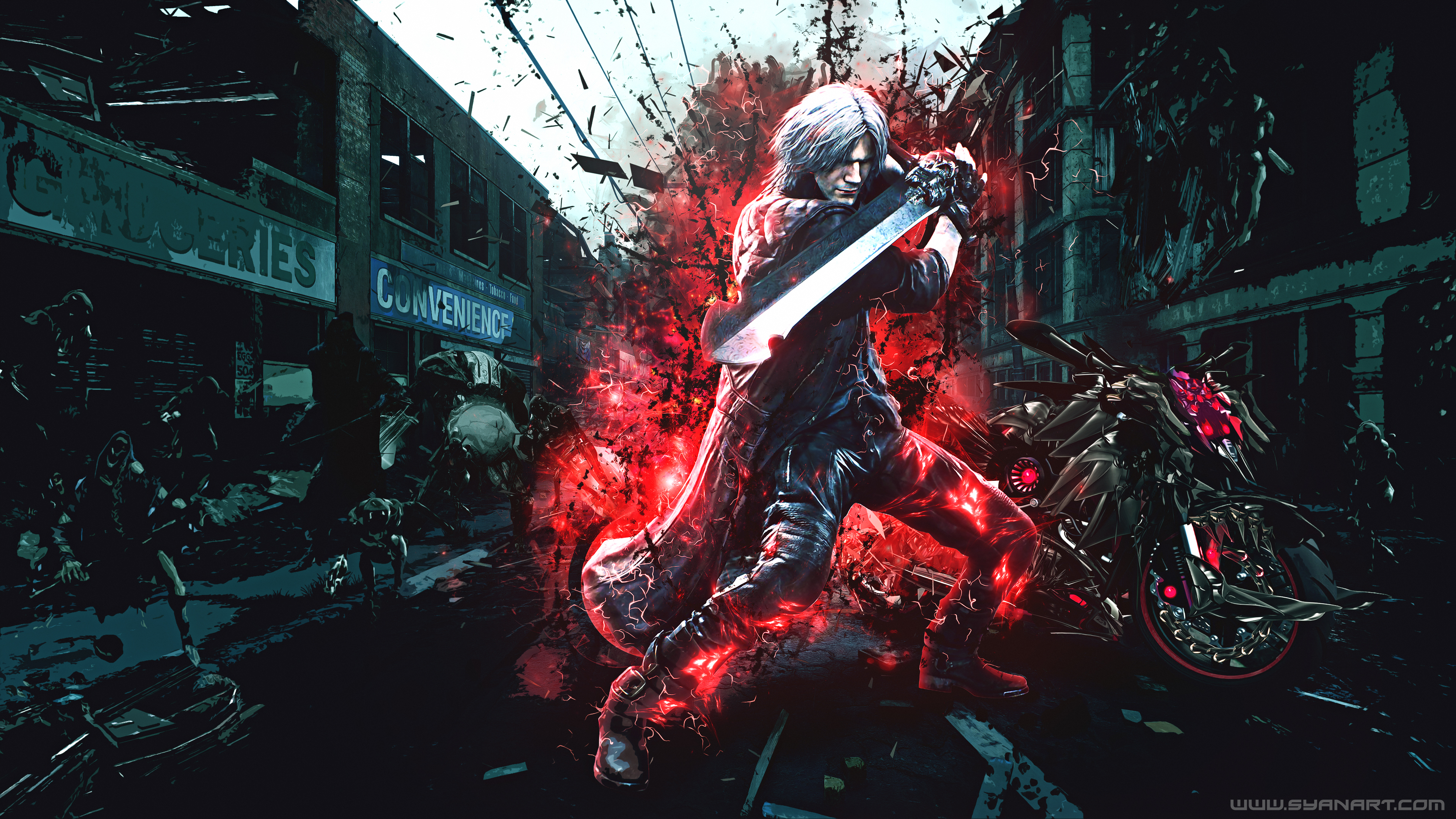 Devil May Cry 5 Dante S Motorbike 4k Wallpaper Syanart Station