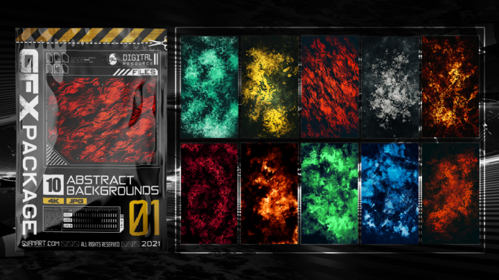 10 Abstract 4K Backgrounds GFX Package 01
