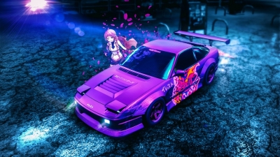 Anime Drifting Girl Nightcore Music 4K Wallpaper